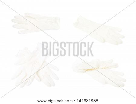 Medical white rubber glove isolated over the white background, set of four different foreshortenings