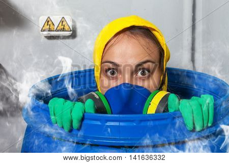 Woman in gas mask