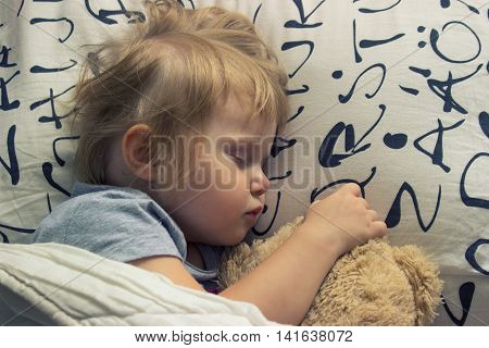 Sweet dreams- toddler sleeping with teddy bear