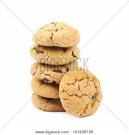 Stack pile of soft chewy chocolate chip cookies, composition isolated over the white background