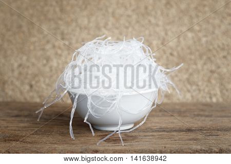 Chinese cellophane noodle or mung bean vermicelli transparent thread like noodle made from dried mung bean paste