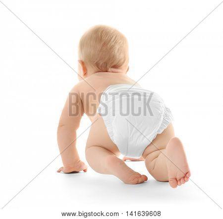 Baby crawling on white background