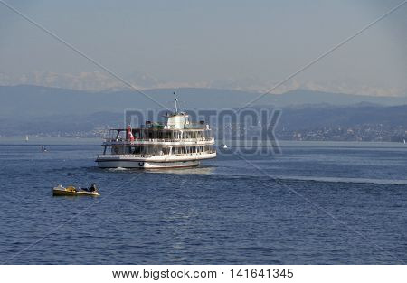 LUCERNE SWITZERLAND - APRIL 7 2015: Views from the lake promenade of the old town in Lucerne on APRIL 7 2015. Lucerne is a famous tourist destination in Switzerland.