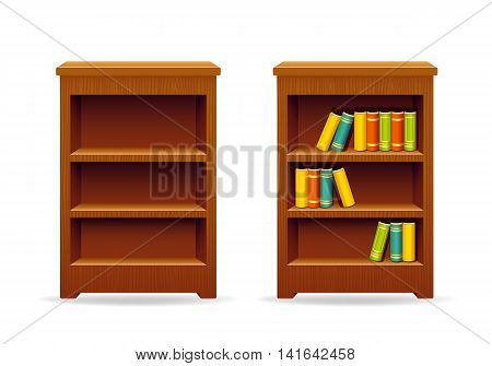 Library bookcase with books. Education and knowledge