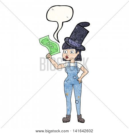 freehand speech bubble textured cartoon woman holding on to money