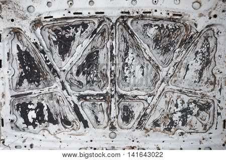 Closeup of old car bonnet, background