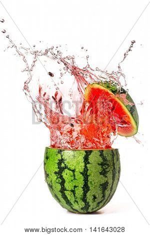 Watermelon with slice and splash isolated on white