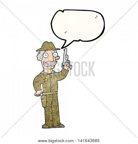 freehand speech bubble textured cartoon sheriff