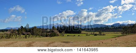 Mid Canterbury Rural Landscape panorama in Winter taken from the Windwhistle War Memorial Obelisk.