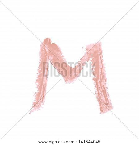 Single abc latin M letter symbol drawn with a wax crayon isolated over the white background