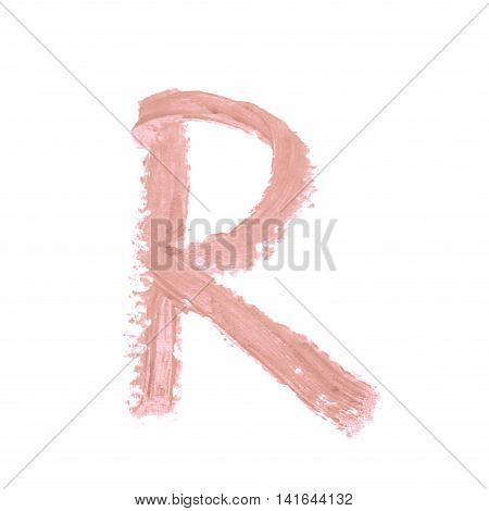 Single abc latin R letter symbol drawn with a wax crayon isolated over the white background