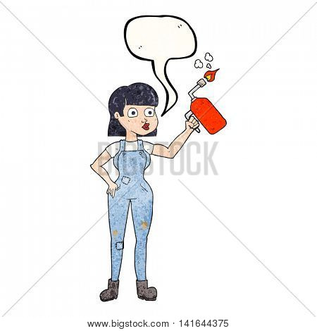 freehand speech bubble textured cartoon woman in dungarees