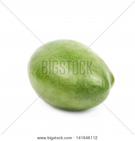 Ripe green mango fruit isolated over the white background