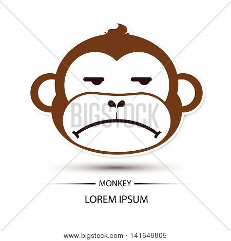 Monkey Face Frown Logo And White Background Vector
