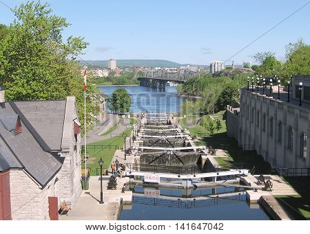 Rideau Canal Locks on the background of River in Ottawa Canada