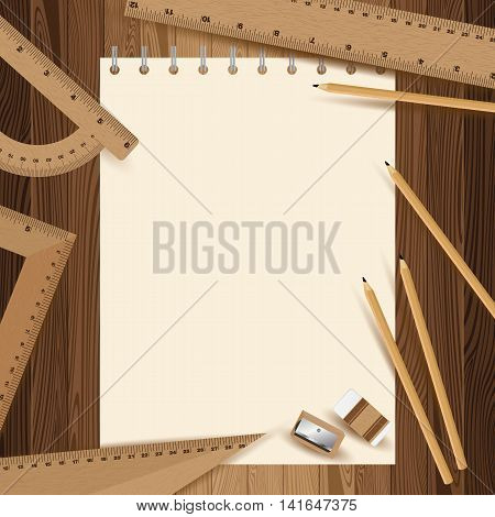Yellow paper with pencil, ruler, eraser and sharpener on lath boards.