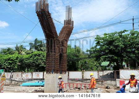 Bangkok, Thailand. August 7,2016. Building sky train station north Green Line since Mo Chit - Saphan Mai - Khukhot.In. They were building the pillars