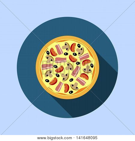 Assorted pizza with mushrooms, tomatoes, olives and meat closeup. Pizza flat design with shadow.Pizza food on a white background.