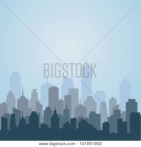 abstract city skyscrapers, blue vector background