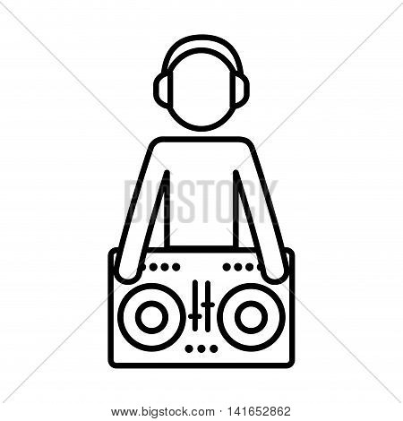 dj headphone music melody sound icon. Isolated and flat illustration. Vector graphic