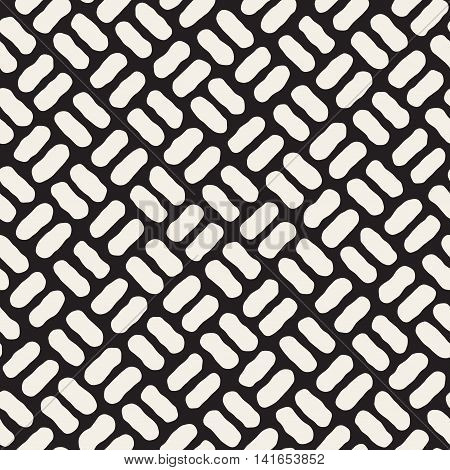 Vector Seamless Black And White Hand Drawn Diagonal Pavement Pattern. Abstract Freehand Background Design