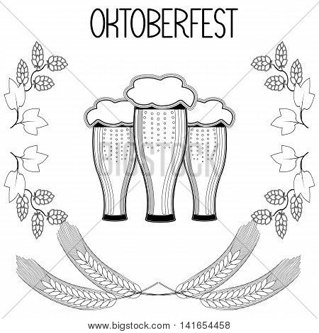Three glasses of beer, barley, hops, Oktoberfest. Hand draw, sketch.