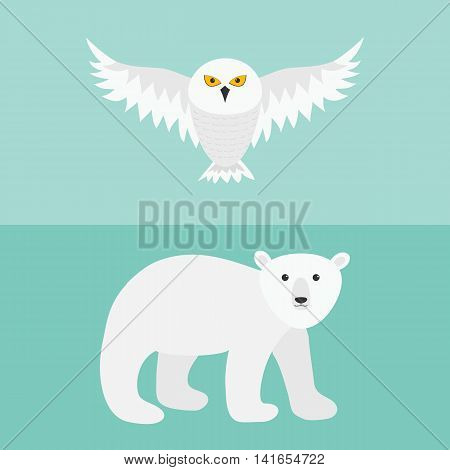 Snowy white owl. Flying bird with big wings. Polar bear. Arctic animal. Baby education. Cute cartoon character. Flat design. Blue background. Vector illustration