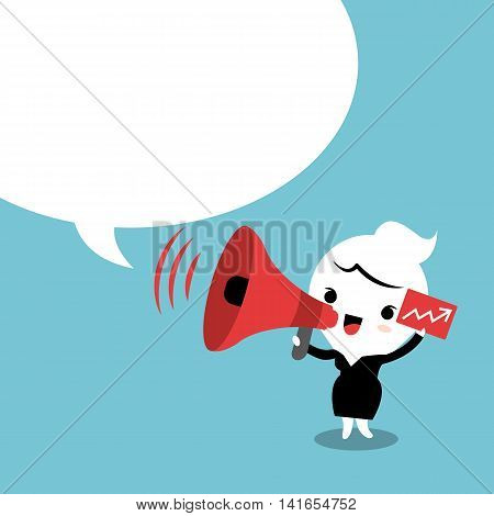 Business woman on megaphone make an announcement with bubble speech