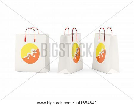 Flag Of Bhutan On Shopping Bags