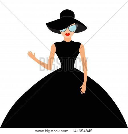 Woman in black elegant hat and big dress sunglasses waving. Rich beautiful celebrity girl. Beauty fashion model face red lips. People Cute cartoon character Flat White background Isolated Vector