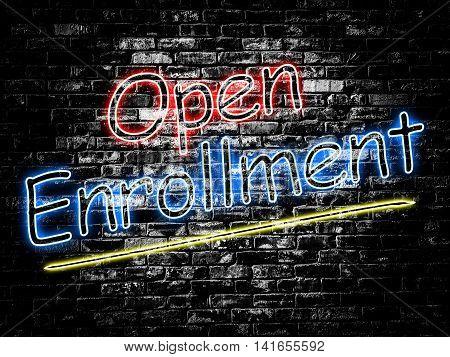 Open Enrollment sign on old black vintage brick wall background