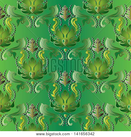 Green floral damask baroque vector vintage seamless pattern background with elegant volumetric ornaments. Luxury elements in Victorian style.  3d decor with shadow and highlights.