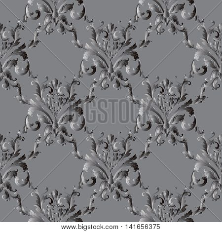 Floral  grey damask baroque vector vintage seamless pattern background  with elegant volumetric ornaments. Luxury elements in Victorian style.  3d decor with shadow and highlights.