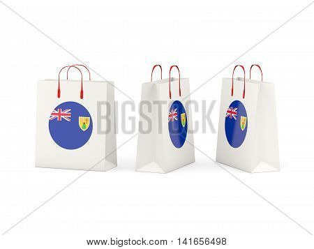 Flag Of Turks And Caicos Islands On Shopping Bags