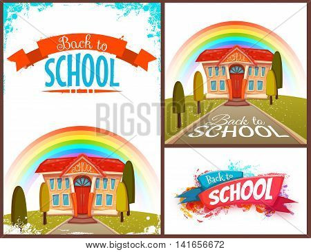 Back to school banners and poster set. Vector illustration.