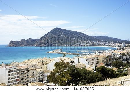 Beautiful coastal towns of Altea and Albir on the Mediterranean coast of the Costa Blanca southern Spain