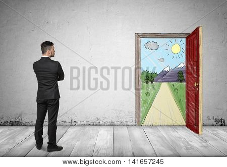 Back view of a businessman looking at an open door with hand drawn sunny mountain landscape and a road. New orrortunity. Business ideas and concepts. Way to success. Dreams and beliefs.