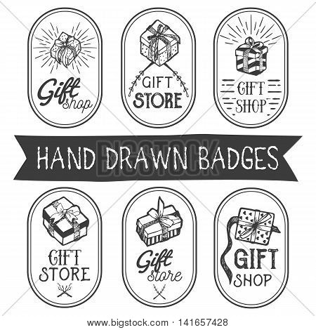 Vector set of hand drawn gift shop labels in vintage style. Design elements, icons, logo, emblems and badges isolated on white background. Gift store boxes with ribbons.