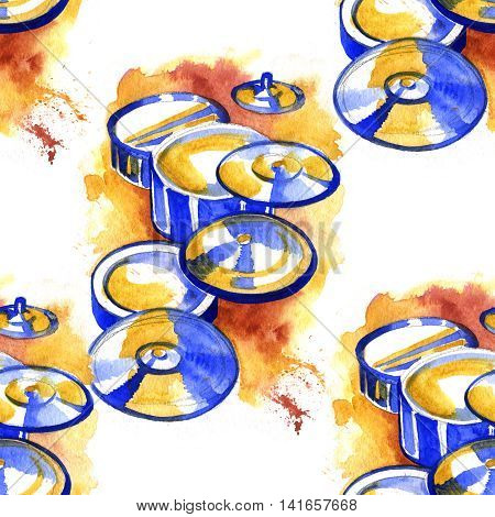 Drums with splashes in watercolor style. Hand drawn illustration