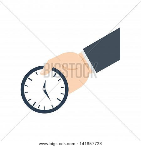 time traditional clock hand arm icon. Isolated and flat illustration. Vector graphic