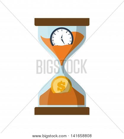 clock hourglass coin money financial item commerce icon. Isolated and flat illustration. Vector graphic