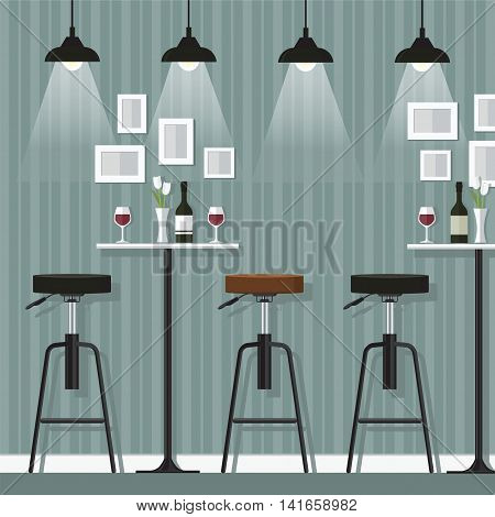 Interior of the bar Cocktail drink glass and alcohol wine bottle and stool vector illustration