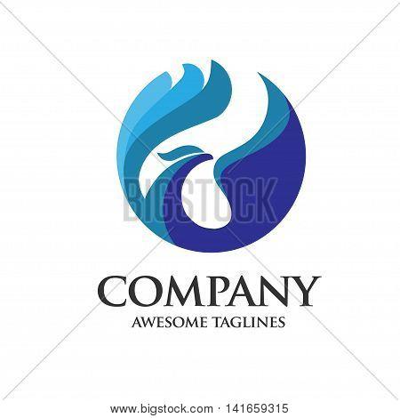 phoenix Abstract blue bird concept logo vector