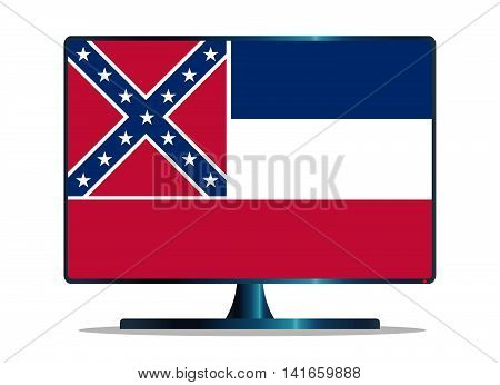 A TV or computer screen with the Mississippi state flag