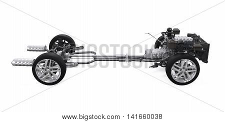 Car Chassis with Engine isolated on white background. 3D render