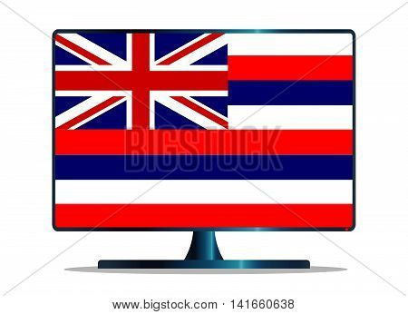 A TV or computer screen with the Hawaii state flag