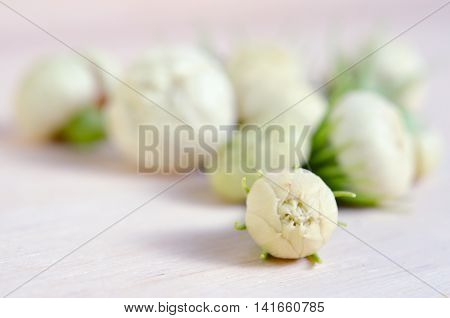 Jasmine Flowers Grouped On Wooden Board Background