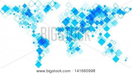 Blue world silhouette abstract map. Vector paper illustration.