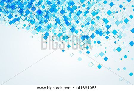 Background with blue rhombs. Vector paper illustration.