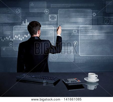 A confident office worker drawing digital chart boxeswith numbers illustration in the middle of a conference meeting concept